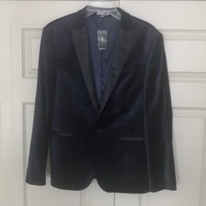 Express Photographer Fitted Blue Velvet Blazer 38S
